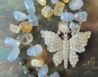 Antique Rhinestone Butterfly