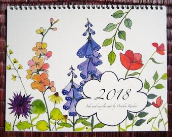 2018 WALL CALENDAR- Floral calendar, gift for her, Christmas gift, 2018 calendar