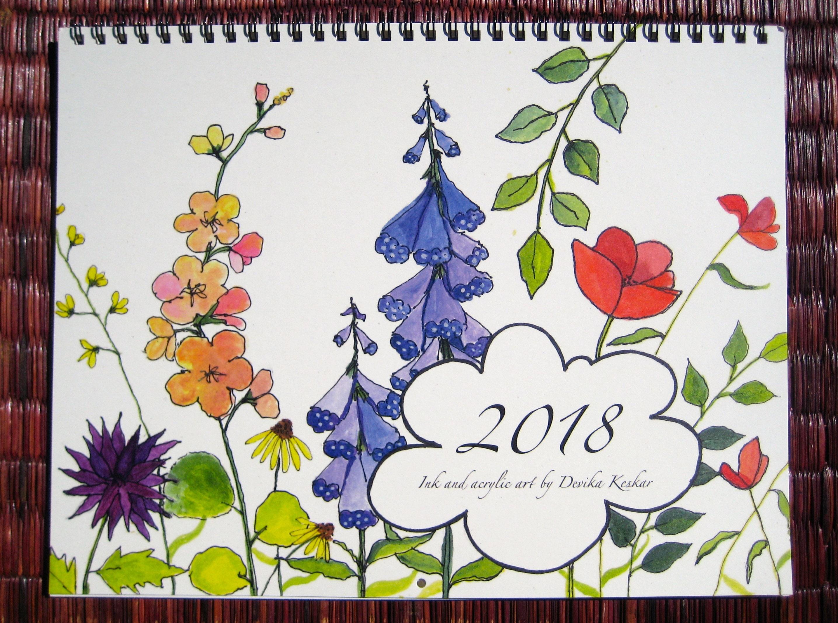 2018 WALL CALENDAR Floral calendar gift for her Christmas