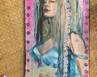 Fairytale Portrai ORIGINAL PAINTING by Windy Spring 12x24 on canvas ready to hang