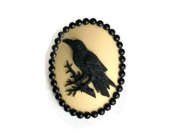 Yellow and Black Crow Brooch, Raven Cameo Pin, Pin up, Vintage Inspired, Black Bird, Retro, Gothic