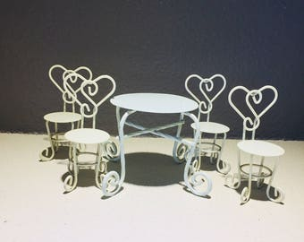 Vintage Dollhouse Furniture Table And Chairs Metal Miniature Fairy Garden Wrought Iron Style