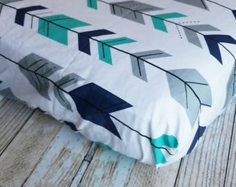 Crib Sheet - Arrow Fitted Sheet  - Changing Pad Cover - Baby Shower Gift - Baby Grey Teal Crib Sheet - Toddler Sheet - Tribal Baby Bedding