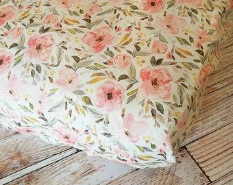 Floral Crib Sheet - Girls Baby Sheet - Pink Crib Sheet - Toddler Sheet - Floral Changing Pad Cover - Baby Shower Gift - Baby Bedding