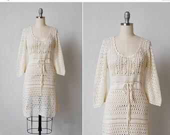 30% OFF SALE vintage 70s crochet / vintage crochet dress / cotton crochet dress / Laurel Canyon dress