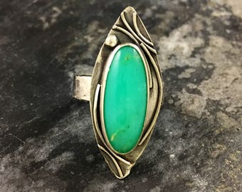 Chrysoprase Ring, size 10 ring, sterling silver ring, Marquis shape stone, one of a kind, chrysoprase stone, reginamariedesigns