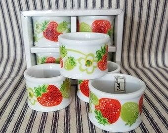 Yearly Big Sale: Vintage Porcelain Strawberry Napkin Rings, New Old Stock, NOS NIP Collectible