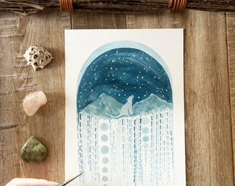 Celestial Art // original painting // Little wolf and the Starlight