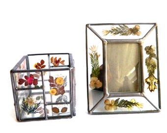 Vintage  Pressed Glass Dry Flower Picture Photo Frame and Cube Container With Mirror Bottom - Dresser - Table - Vanity - Set of 2