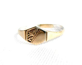 Vintage Art Deco Rose Gold Signet Initial Ring - Thin Band - Blank Engraveable - Monogrammed - Vermeil - Size 10 1/2 - Signed