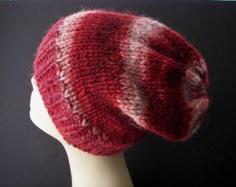ICELANDIC WOOL Chunky HAND Knit Beanie Ski Hat in Wine Gray Swirl