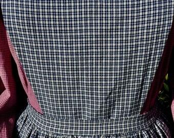 Handmade dark blue and cream plaid pinner apron, pockets