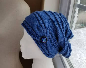 Deep Water Blue Cable Brim Slouch Hat with  Rhinestone Button