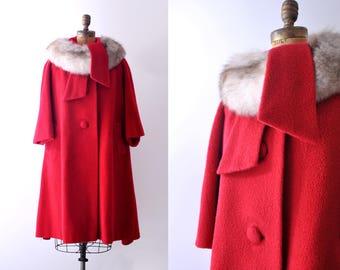 1960's Red Wool Coat. Fox Trim. 60's large coat. Arctic white fox fur. L