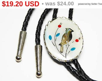 Spring Fling Sale Southwestern Mother of Pearl Bolo Tie - Inlaid Abalone Bird - Turquoise & Carnelian Flowers - Black Braided String Tie ...