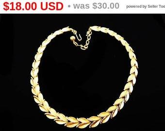 Summer Sizzler Sale Trifari Brushed Gold Tone Necklace - Chatham Leave Design Links - Satin Gold Tone Choker - Vintage 1950s 1960s Signed...
