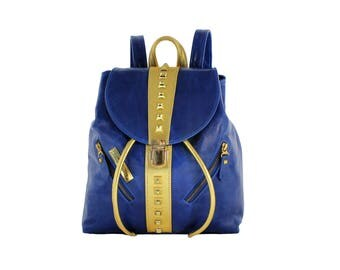 Imperial Backpack. Royal Blue & Gold Genuine Leather. Pyramid Studs