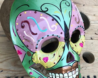 Hand Painted Multi Color Pastel 'Day of the Dead' Theme Venetian Masquerade Style Full Face Mask- Festival, Mardi Gras, Party Mask