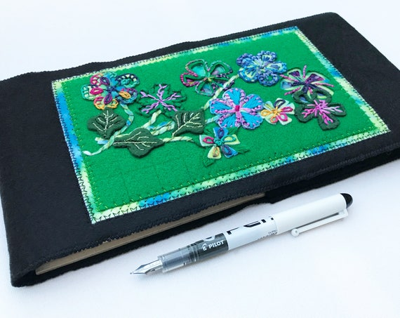 Jungle Flowers Journal Sketchbook - Green Vibrant Floral Embroidery Notebook - Beautiful, one-of-a-kind Sketchbook - Sketching Journal