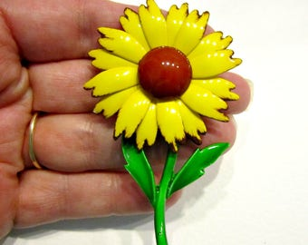 """Vintage Yellow Daisy Enamel Brooch 3"""" Bright Red Yellow Flower Jewelry Gift Idea for Mom Flower Pin Gift Idea Under 20"""