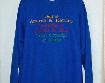 Dad, Grandpa, Great Grandpa Sweatshirt, Custom Grandparent Gift, Personalize With Kids Names, Pappy, Pepere, No Shipping Fee, AGFT 1102