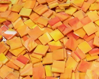 Pumpkin Orange Stained Glass Mosaic Tiles