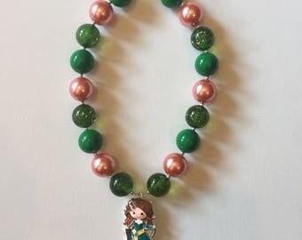 Disney Merida Birthday Party Necklace - Disney Brave Little Girl Necklace - Merida Chunky Necklace - Merida Necklace - Disney Bracelet