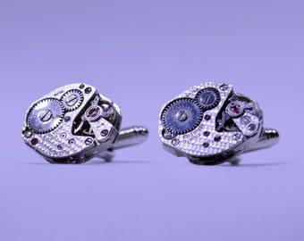 Stunning oval watch movement cufflinks ideal gift for a wedding, birthday or anniversary 138