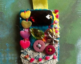 Textile Brooch - Boho Hippy Chic Festival Pin