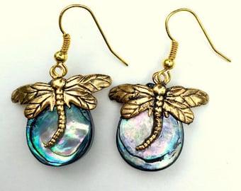 Blue/Green Paua Shell, Gold Tone French Wire Earrings, Gemstone Jewelry, Rock Hound Treasure