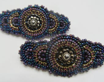 OAK Beadwork by Sarah Klopping/Pair of Hand Beaded Hair Barrettes with Antique Button Centers
