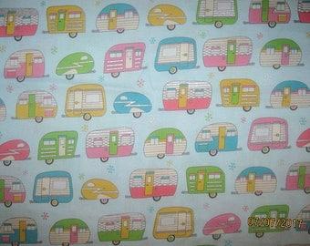 CAMPERS, Cotton Fabric, Fat quarter, 18X22, scrap, remnant, camp, travel, trailer, gray, living simply, aqua,
