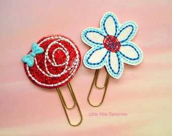 Patriotic Daisy and Rose Flower SET Glitter Planner Clip Paperclip fourth of july