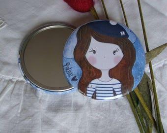 "Round Pocket mirror for bag ""Poline Breizh"""