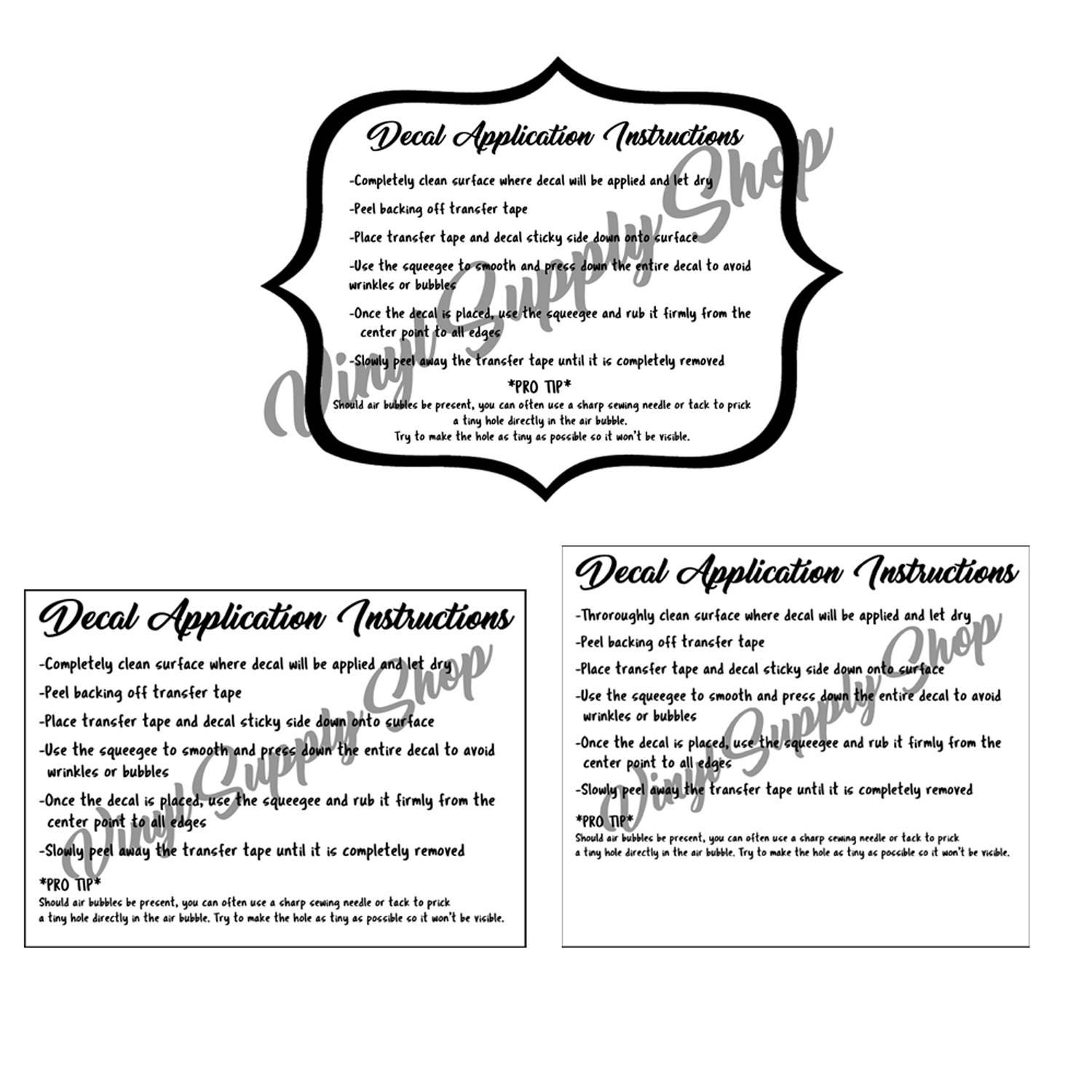 Decal Application Instruction Printables Bundle How To Apply - Custom vinyl decal application instructions
