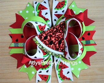 Watermelon Bow Summer Bow Glitter Bows Fruit Bows Feltie Bows Bottle Cap Bow Fruit Bow Boutique Bows Layered Bow Baby Girls Hair Accessories