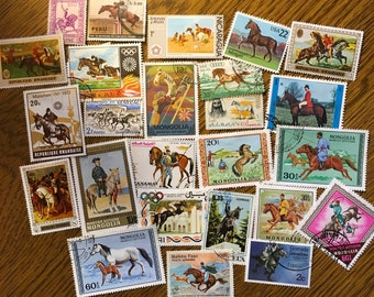25 Horse Used World Postage Stamps for crafting, collage, cards, altered art, scrapbooks, decoupage, history, collecting, philately 12d