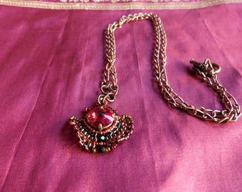 Baroque necklace Beadwoven red and black