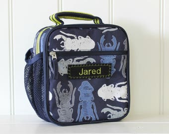 Kids Personalized Lunch Bag -- Pottery Barn Classic Style -- Navy Bug