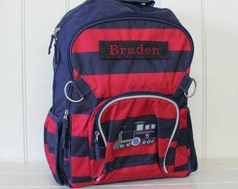 Large Backpack with Personalization Pottery Barn (Large Size) --Navy/Red Stripe with Train Patch