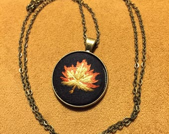Fall Autumn Leaf Necklace Embroidery