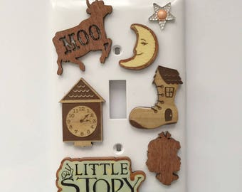 Childhood Stories Light Switch Cover, Nursery, Child's Room, Baby Gift, Cow, Moon, Sparkling Star, Clock, Shoe House, Child