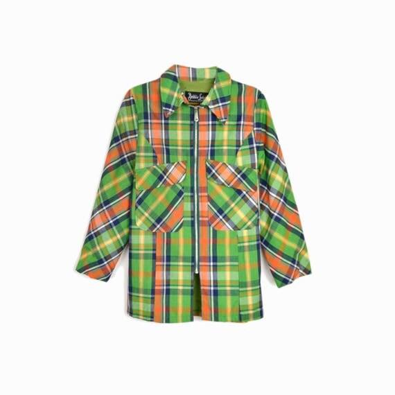 Vintage 60s Japanese Raincoat / Green Plaid Jacket / Vintage 1960s Plaid Raincoat - women's medium/petite