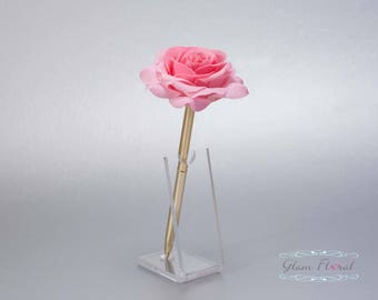Bubblegum Pink Rose Guestbook Pen. Gold Wedding Pen Set, Wedding Pen Holder, Real Touch Rose Flowers, pink, blush. Tea Rose Collection