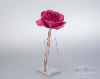 Wine Purple Rose Guestbook Pen. Rose Gold Wedding Pen Set, Wedding Pen Holder, Real Touch Rose Flowers, Raspberry. Tea Rose Collection