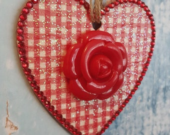 Gingham Hanging Heart with Red Rose, Wooden, rhinestones, country cottage chic