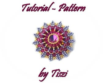 Pendant pattern, tutorial for beaded pendant Edvina with 27 mm rivoli and bicones, PDF instructions, step by step