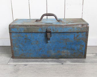 """Old Blue Metal Toolbox--Nicely Distressed with Removable Tray """"Industrial Chic Beauty"""""""