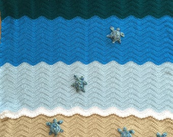 Custom Listing for chrissielovera - Sea Turtle Blanket, Crochet Crib Blanket, Baby Blanket, Throw