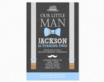 Little Man Birthday Party Invitation, Mustache Invitation, Bowtie, Hat, Blue, Gray, Printable or Printed